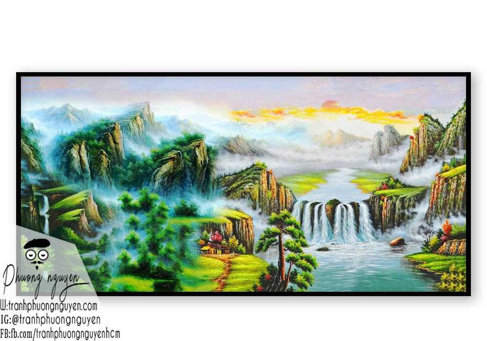 Tranh sơn thủy đẹp hùng vĩ mây trời