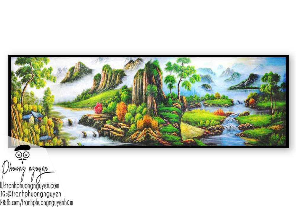 tranh sơn thủy thác nước tươi đẹp