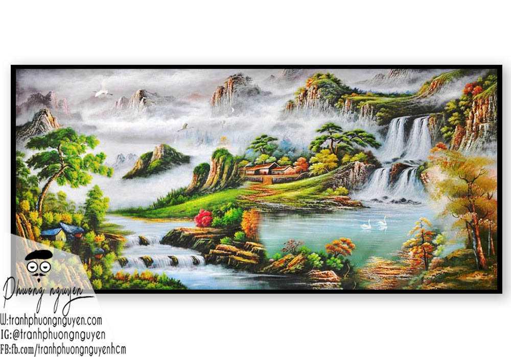 Tranh phong cảnh sơn thủy cùng nhà thôn trên núi