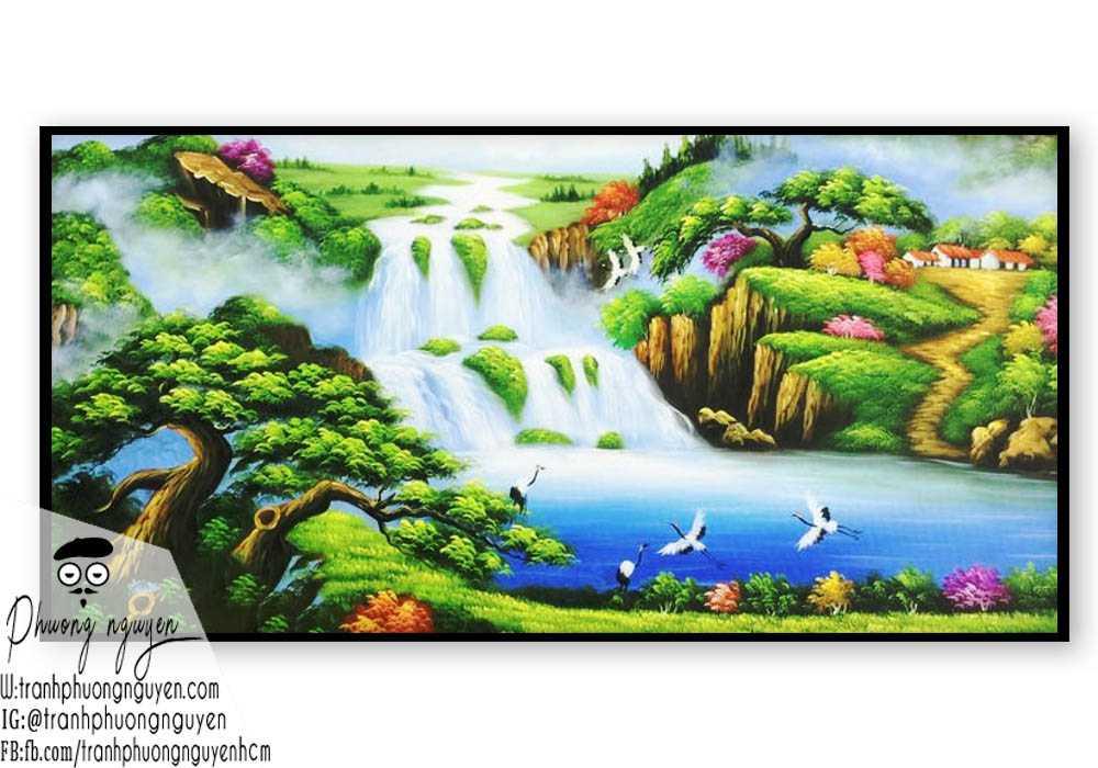 Tranh rừng núi chim hạc bay