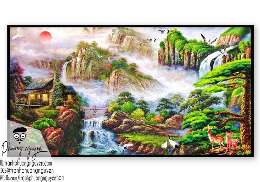 Tranh sơn thủy đẹp giá rẻ- PN1092
