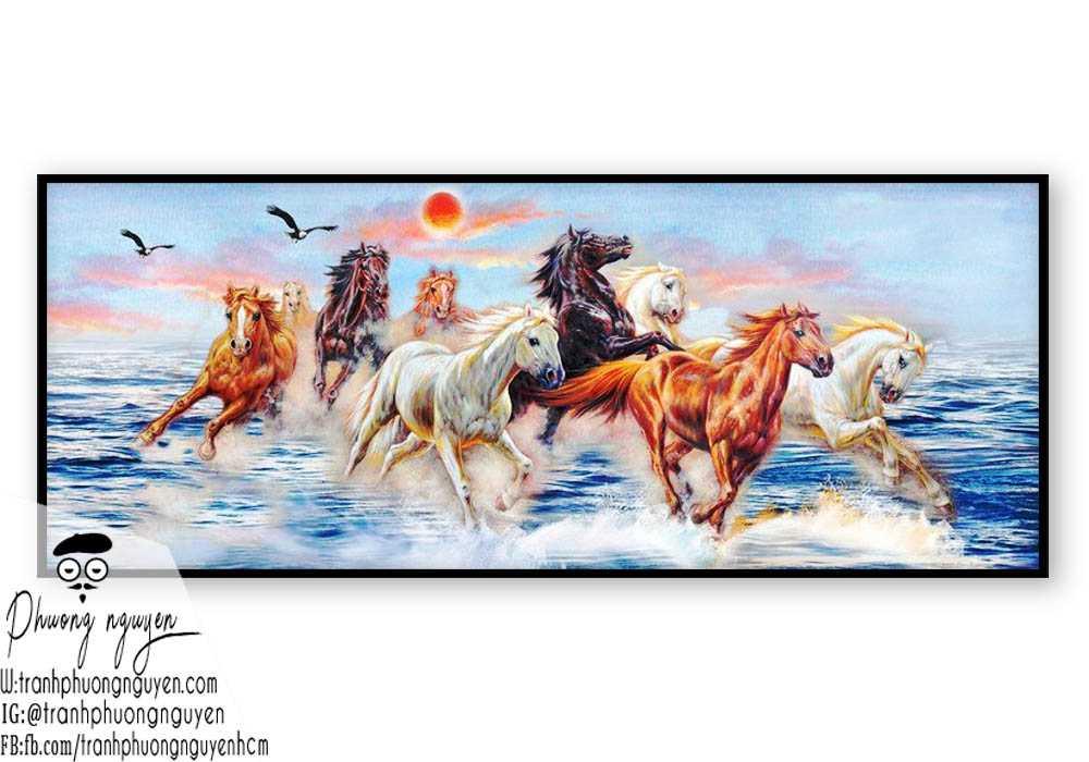 Tranh sơn dầu ngựa đẹp giá rẻ - PN1168