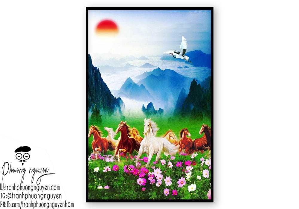 Tranh sơn dầu ngựa phong thủy - PN1169