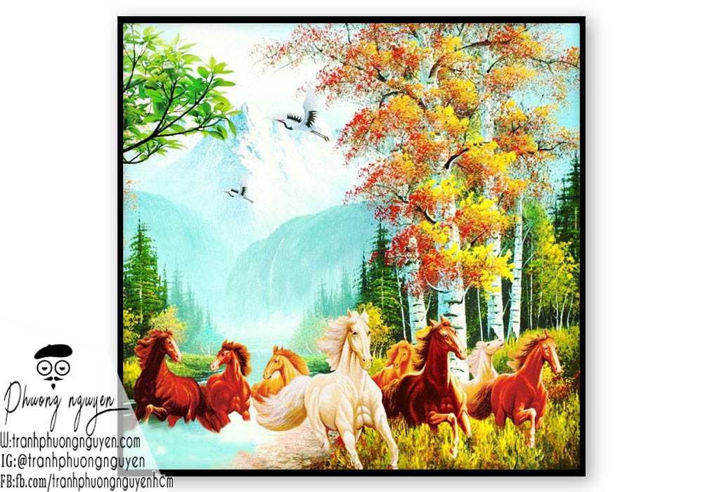 Tranh sơn dầu ngựa phong thủy - PN1171