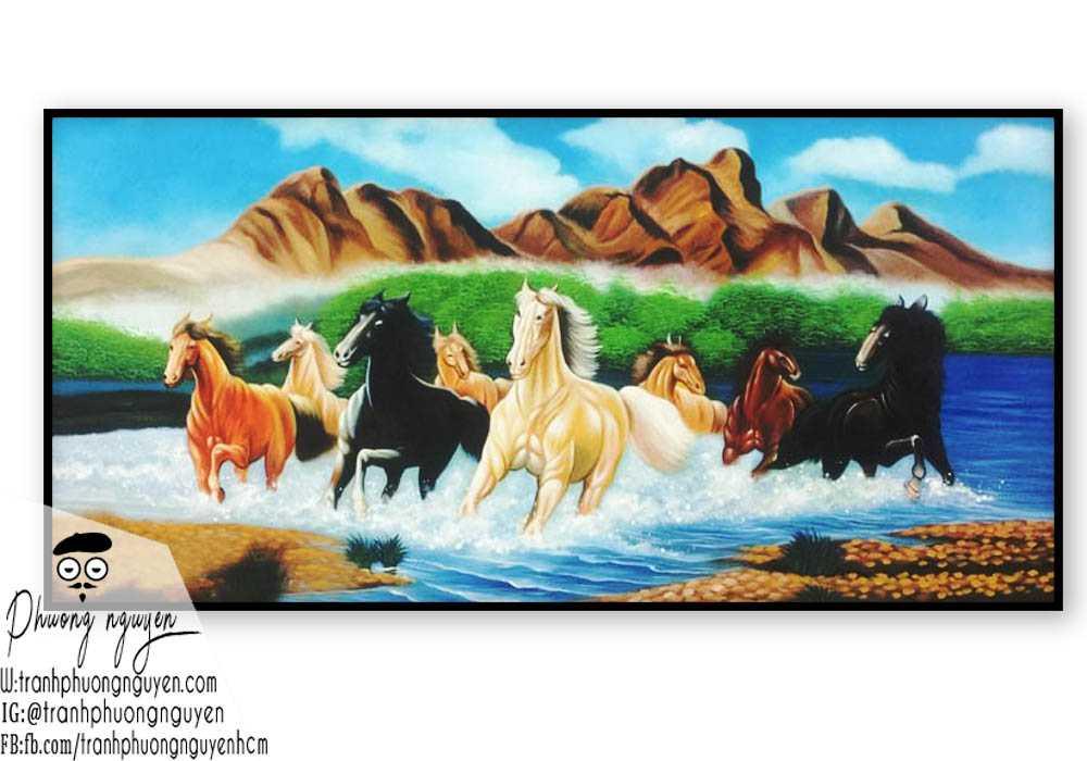 Tranh sơn dầu ngựa phong thủy - PN1172