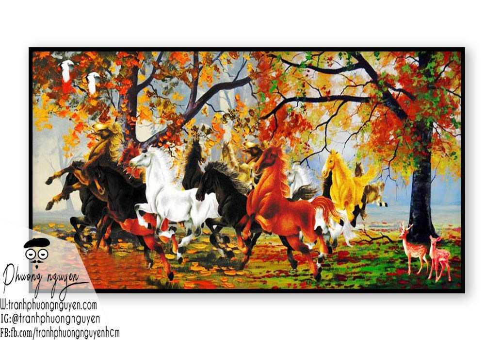 Tranh sơn dầu ngựa phong thủy - PN1173