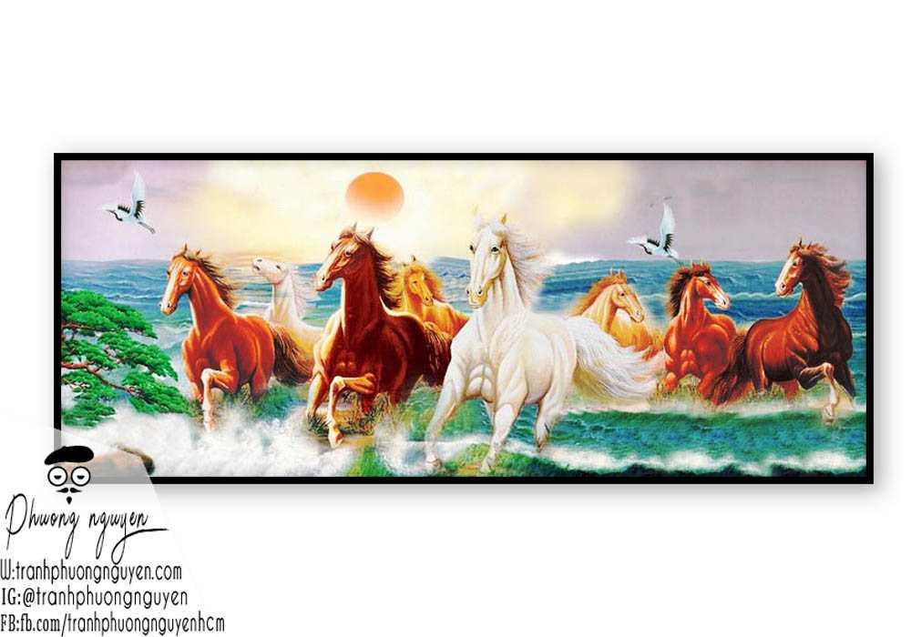Tranh sơn dầu ngựa phong thủy - PN1174