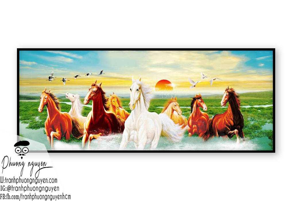 Tranh sơn dầu ngựa phong thủy - PN1175