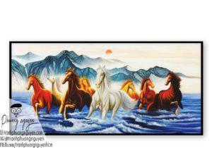 Tranh ngựa bát mã treo phòng khách - PN1194