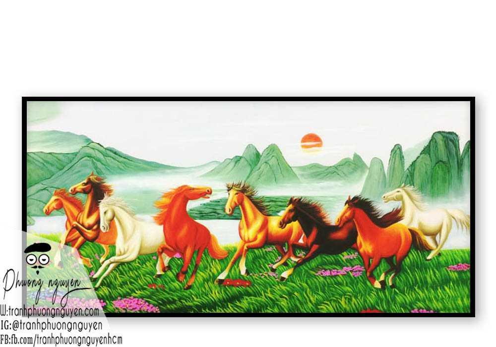 Tranh ngựa bát mã treo phòng khách - PN1195