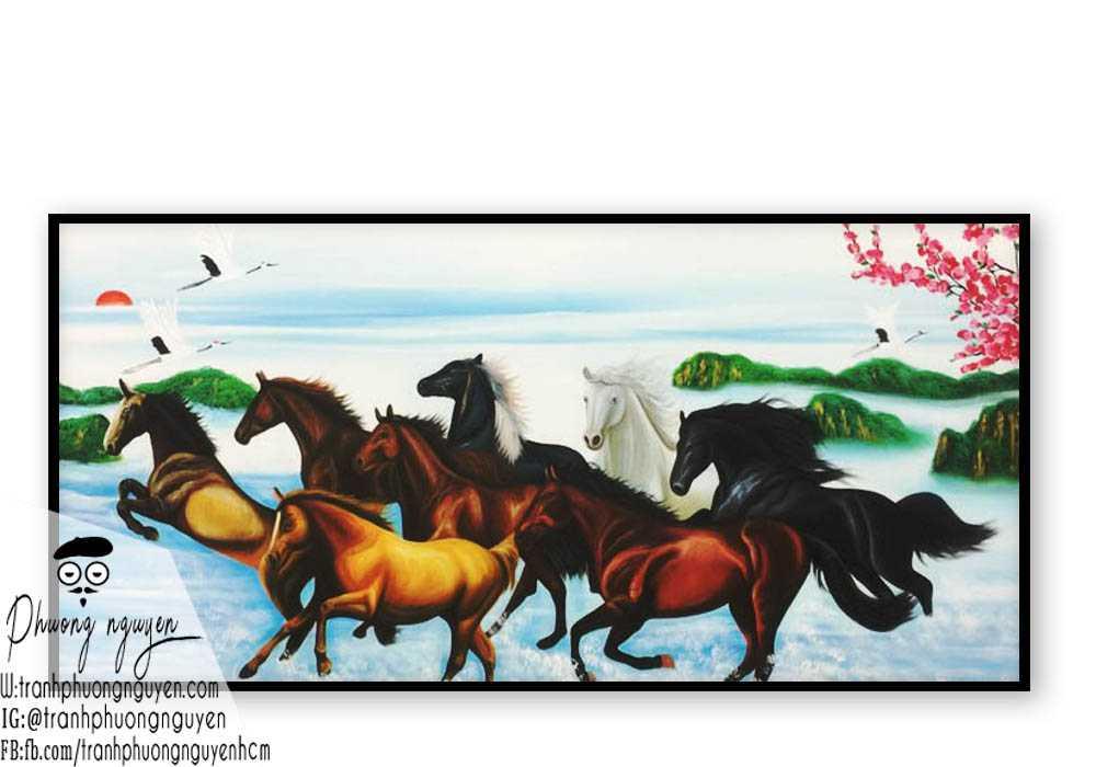 Tranh ngựa bát mã treo phòng khách - PN1196