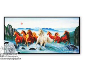 Tranh ngựa bát mã treo phòng khách - PN1197
