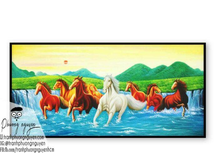 Tranh ngựa bát mã treo phòng khách - PN1199