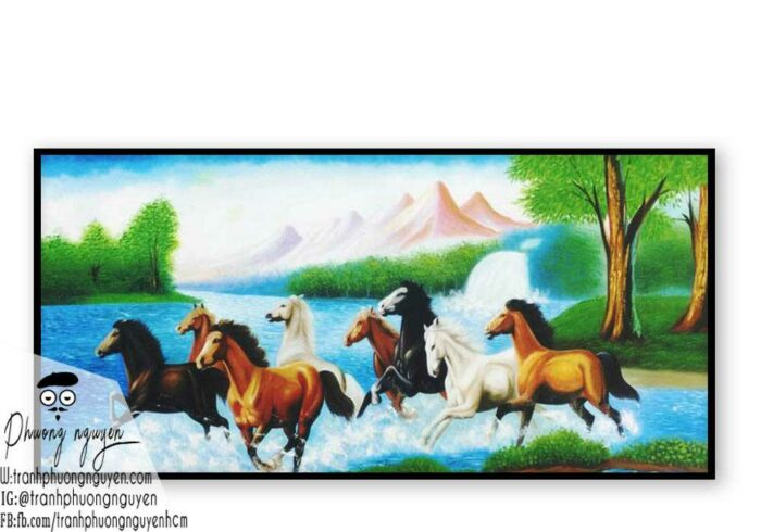 Tranh ngựa bát mã treo phòng khách - PN1200