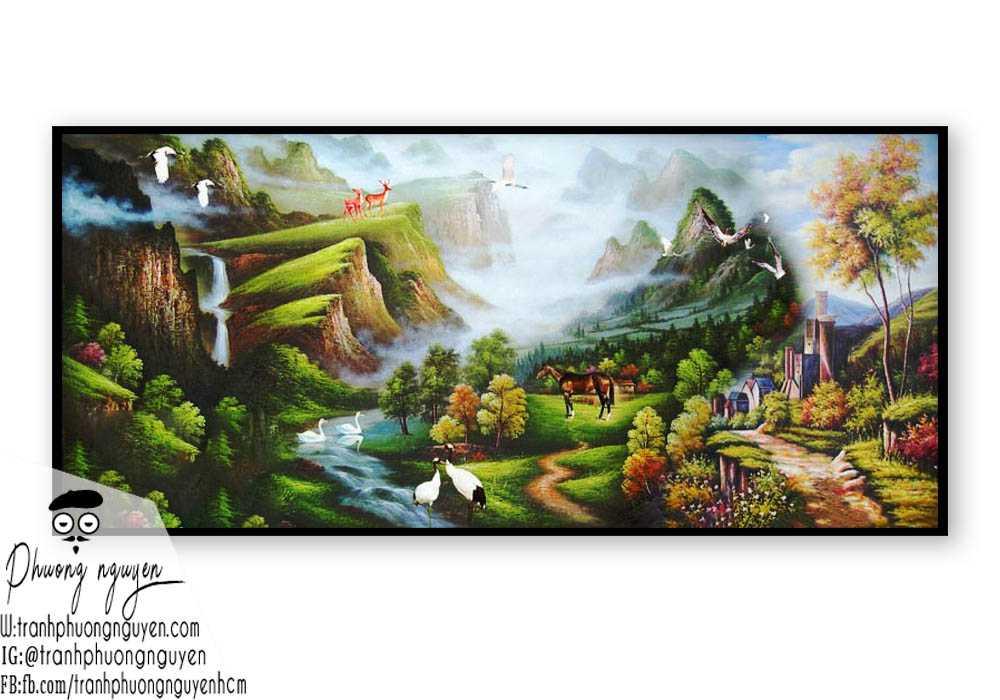 Tranh sơn dầu phong cảnh sơn thủy- PN1098