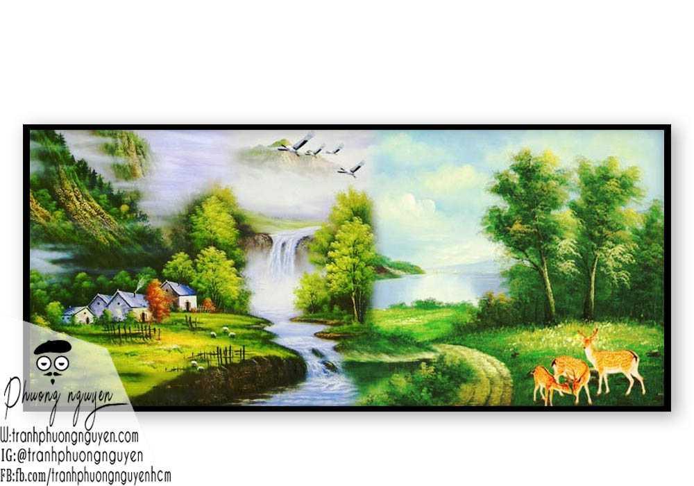 Tranh sơn dầu phong cảnh sơn thủy- PN1100