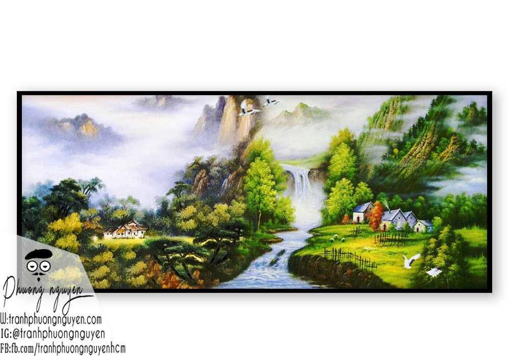 Tranh sơn dầu phong cảnh sơn thủy- PN1102