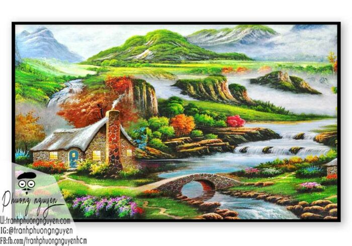 Tranh sơn dầu núi rừng - PN1110