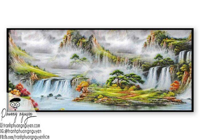 Tranh vẽ thiên nhiên núi hùng vỹ- PN1115