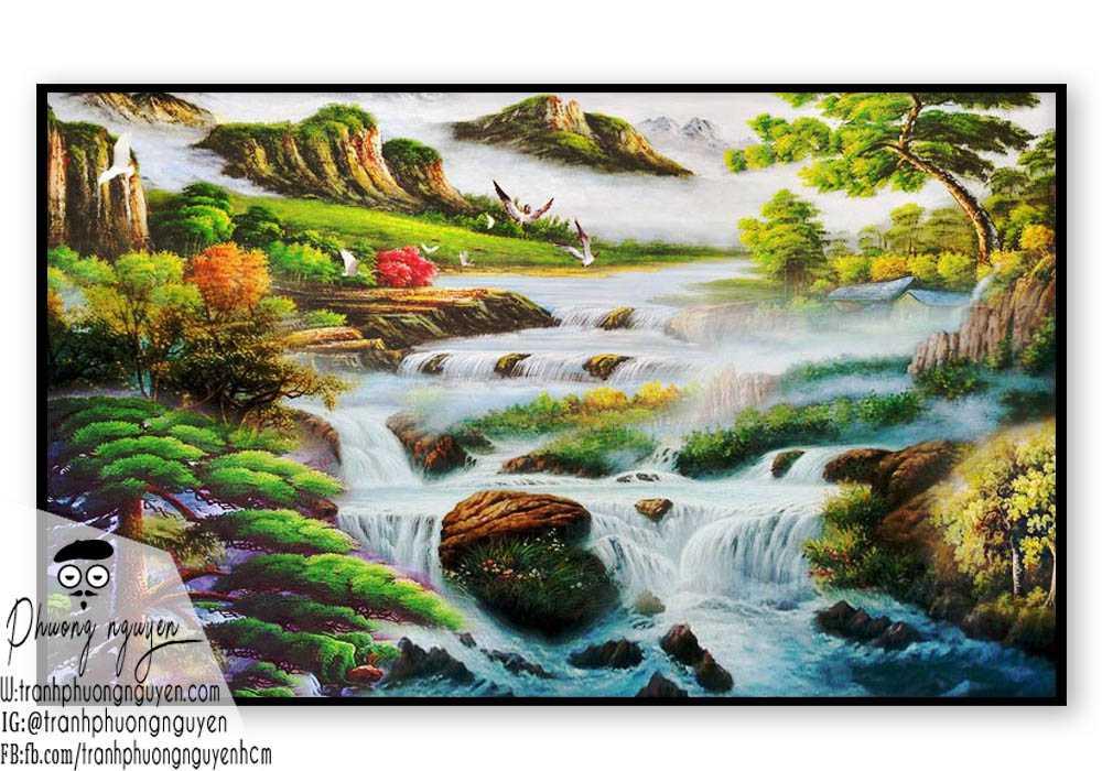 Tranh vẽ thiên nhiên núi hùng vỹ- PN1117