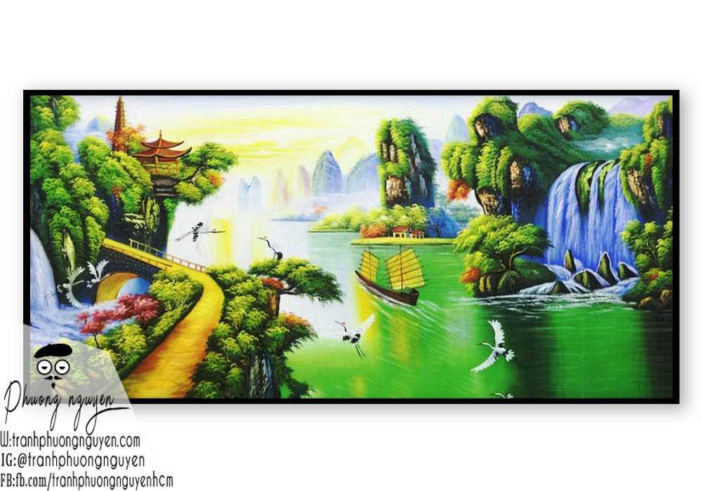 Tranh vẽ thiên nhiên núi hùng vỹ- PN1118