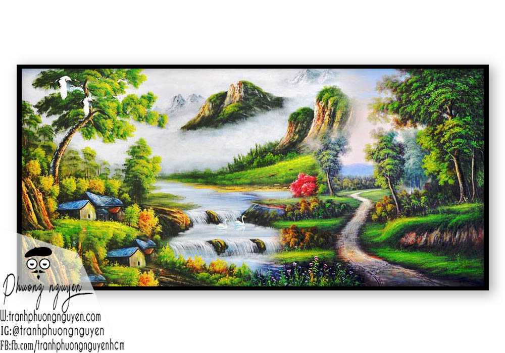 Tranh vẽ thiên nhiên núi hùng vỹ- PN1119