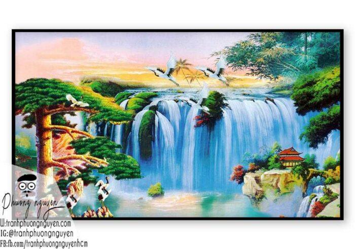 Tranh vẽ thiên nhiên núi hùng vỹ- PN1120
