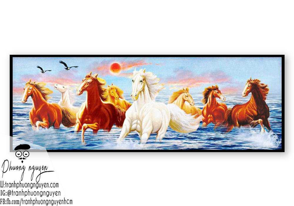 tranh vẽ phong thủy mã đáo - PN1138