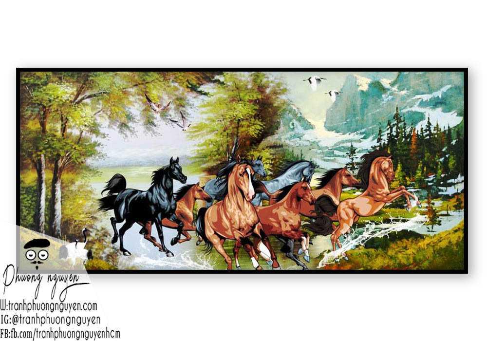 Tranh vẽ ngựa phong thủy đẹp - PN1143