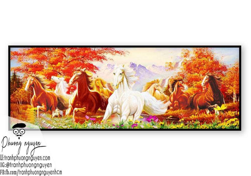 Tranh vẽ ngựa phong thủy đẹp - PN1144
