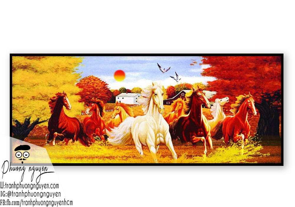 Tranh vẽ ngựa phong thủy đẹp - PN1145