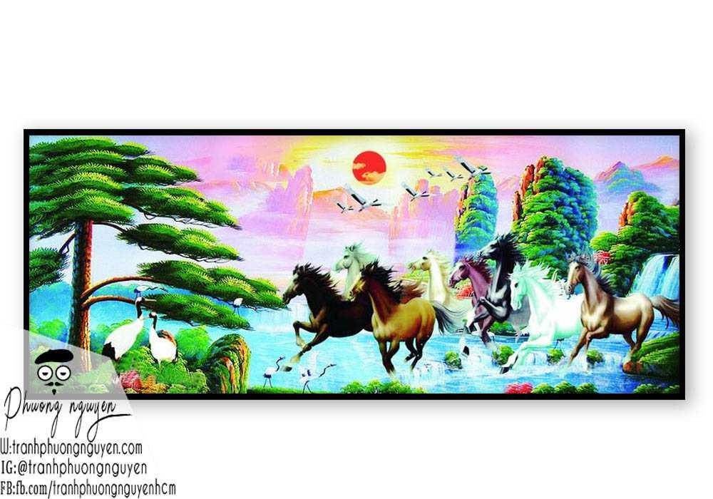 Tranh vẽ ngựa phong thủy đẹp - PN1148