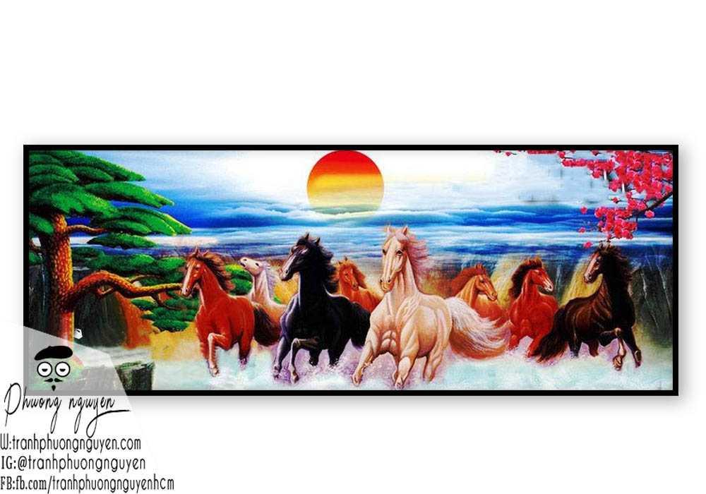 Tranh vẽ ngựa phong thủy đẹp - PN1149