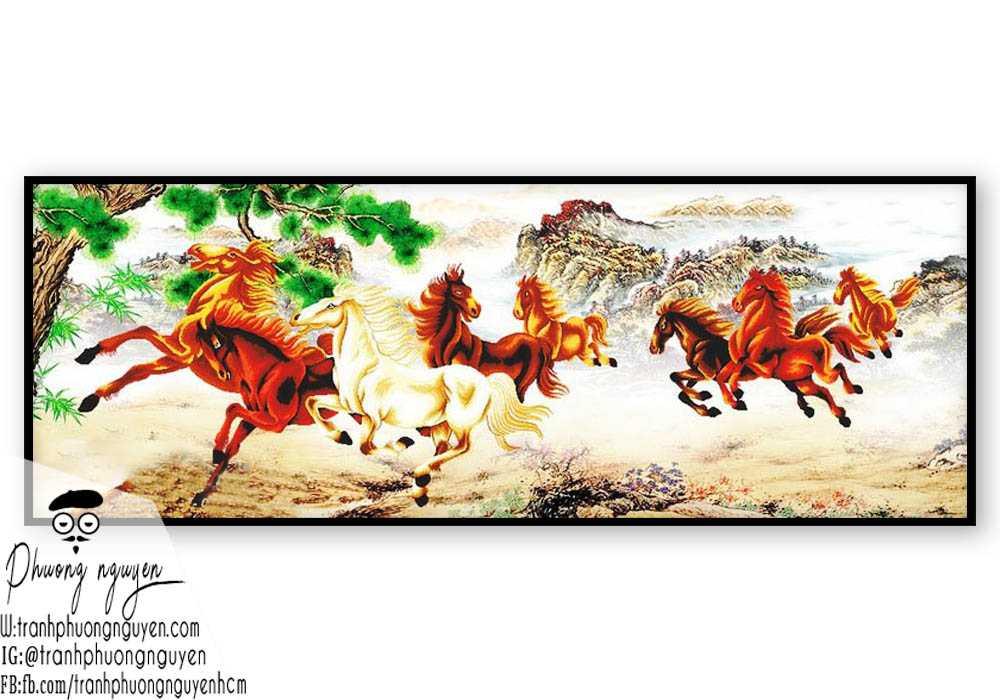 Tranh ngựa phong thủy treo phòng khách - PN1151