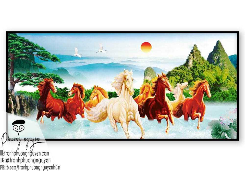 Tranh ngựa phong thủy treo phòng khách - PN1152