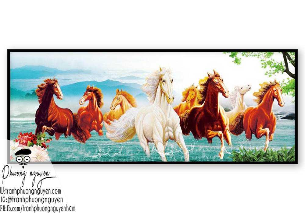 Tranh ngựa phong thủy treo phòng khách - PN1153