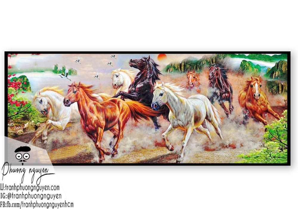 Tranh ngựa phong thủy treo phòng khách - PN1155