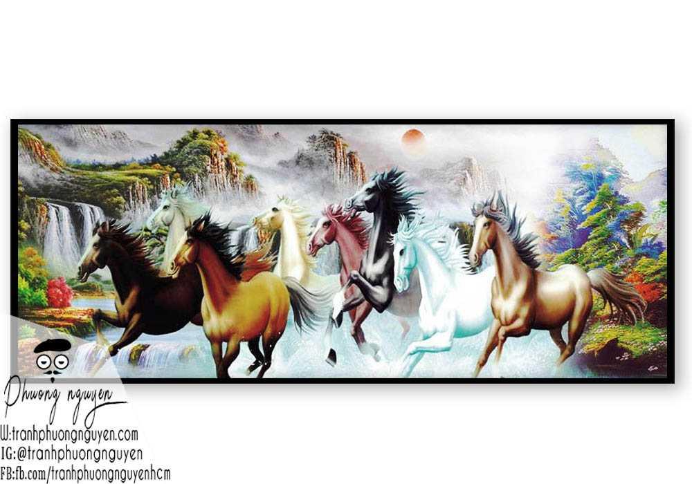 Tranh ngựa phong thủy treo phòng khách - PN1156
