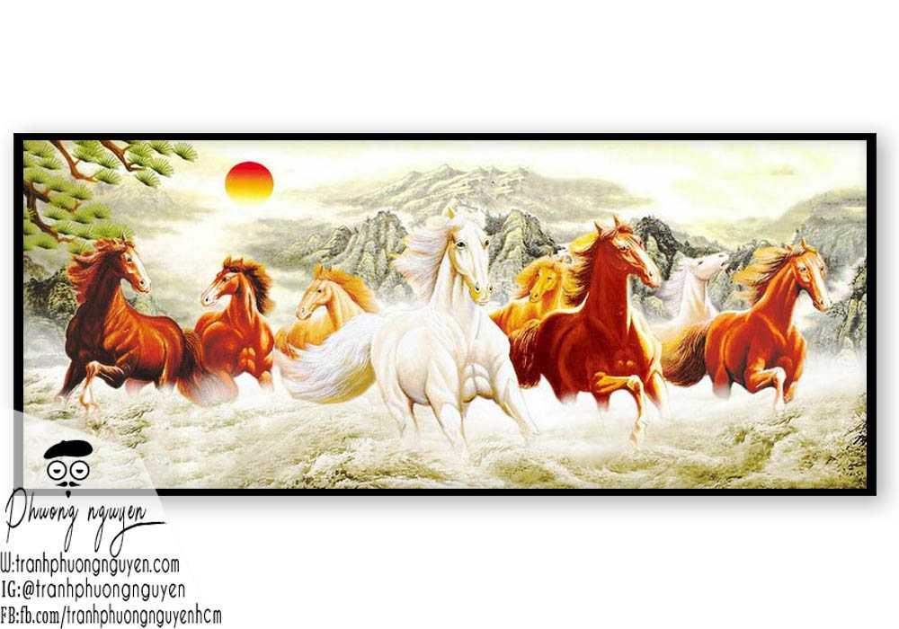 Tranh sơn dầu ngựa đẹp giá rẻ - PN1164