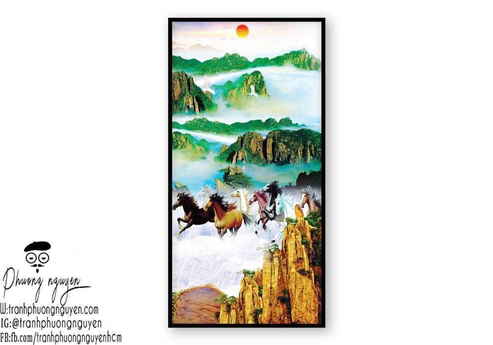 Tranh sơn dầu ngựa đẹp giá rẻ - PN1165
