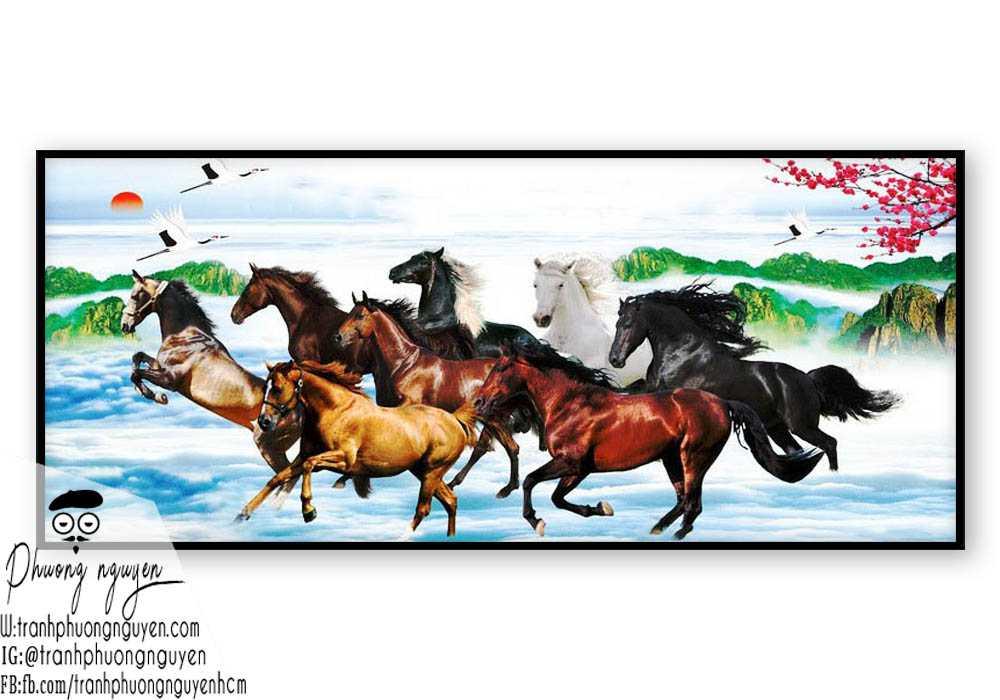Tranh sơn dầu ngựa đẹp giá rẻ - PN1166