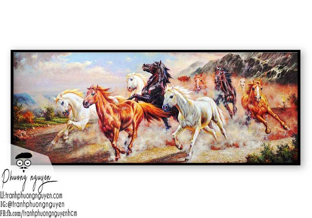 Tranh sơn dầu ngựa đẹp giá rẻ - PN1167