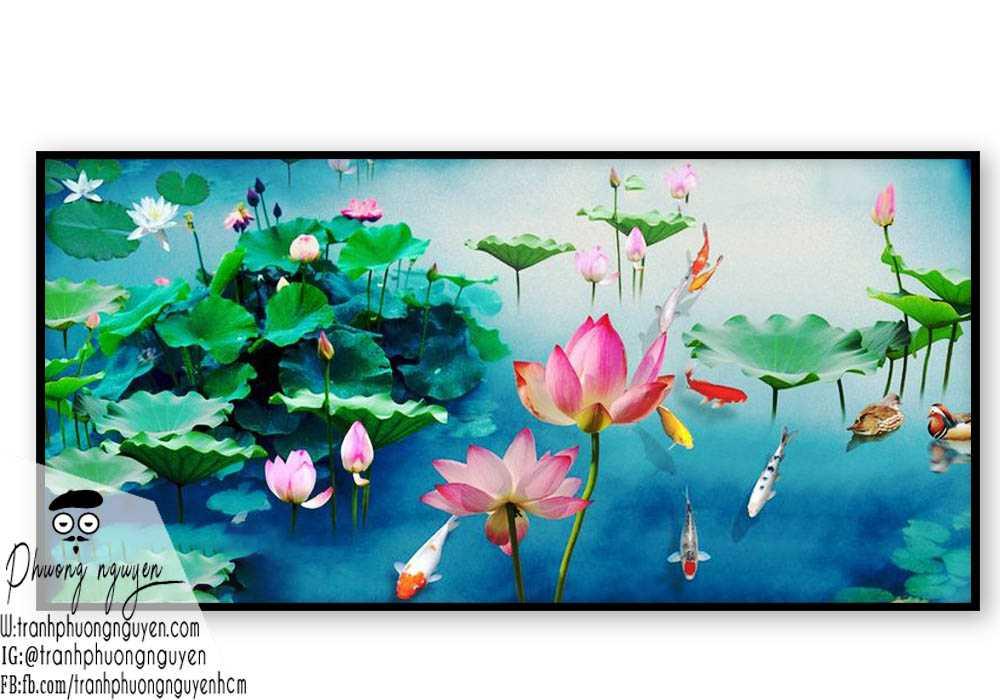 Tranh cá chép đầm hoa sen tươi đẹp