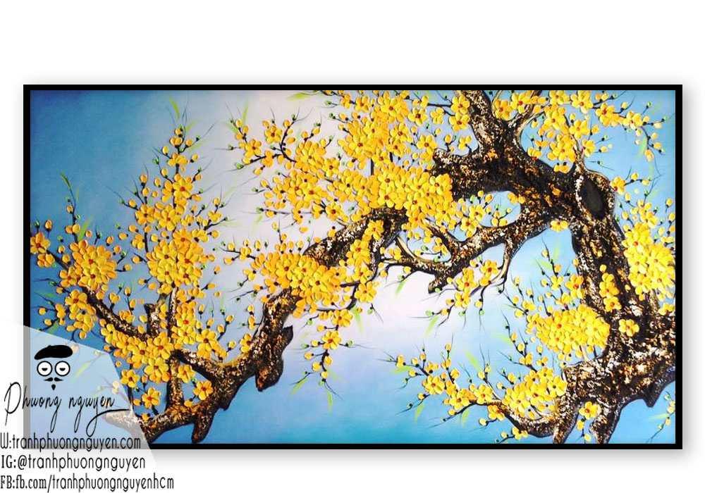 Tranh sơn dầu hoa mai vàng