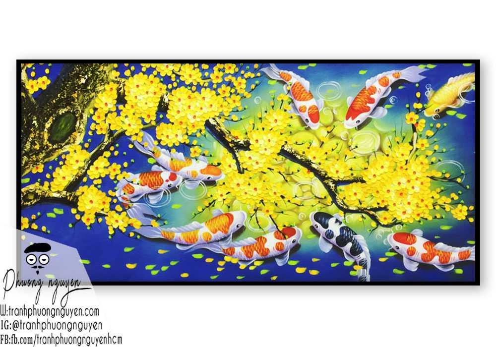 Tranh cá chép cây hoa mai trang trí ngày tết phong cảnh