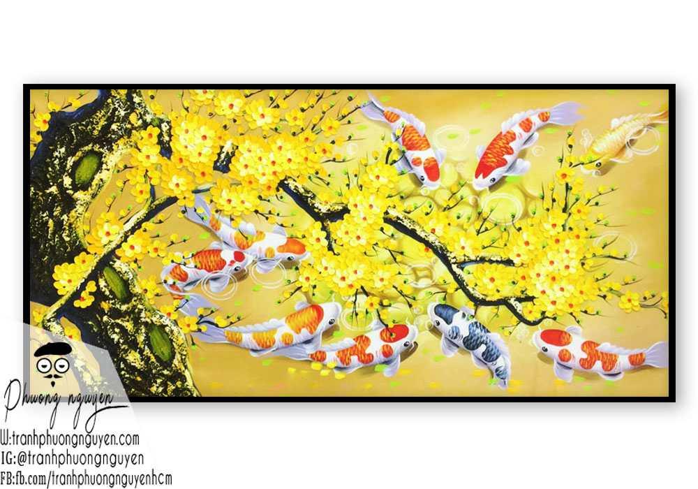 Tranh Phong thủy hoa mai vàng cá chép treo ngày tết