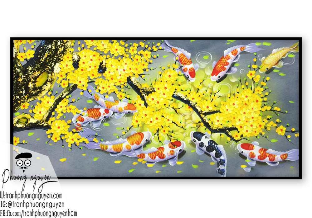 Tranh Phong thủy hoa mai vàng cá chép treo ngày tết vàng