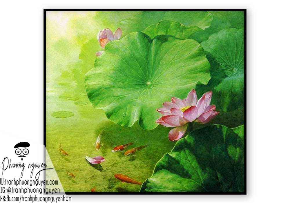 TRANH VẼ HOA SEN PHONG THỦY - PN1362