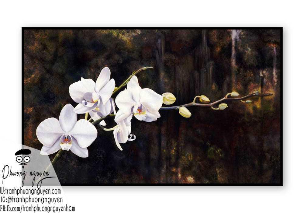Tranh sơn dầu hoa lan - PN1384