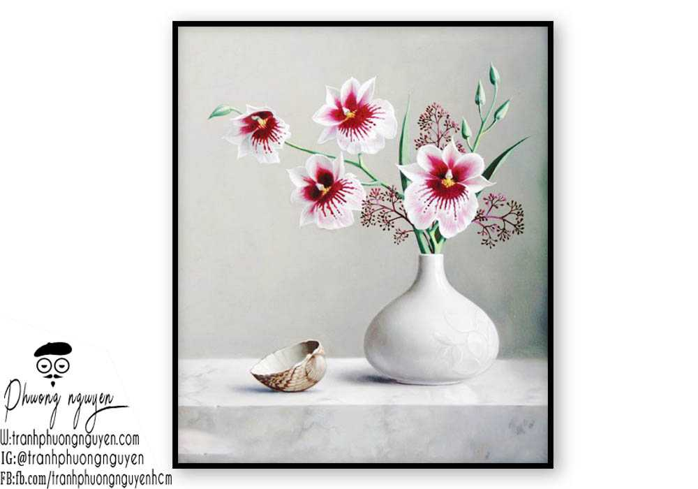 Tranh sơn dầu hoa lan - PN1386
